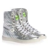 Silver Perforated Leather High Top Trainers
