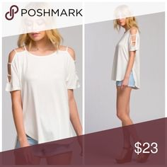 1a8391e5496f21 ❗️CLEARANCE❗️Ivory Cut Out Sleeve Tunic Top S M L Boutique