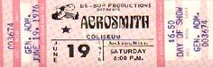 Aerosmith  concert ticket from 1976.  That was about the year that I went in Portland, maybe '75