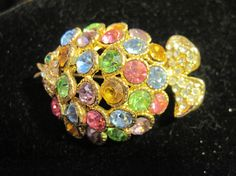 Vintage Gold Metal Rainbow Colored Fish by zoecatglitzanglamour
