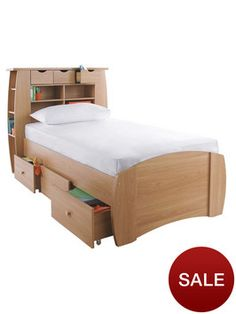 Kidspace Orlando Single Bed with Storage, Shelves and Optional Mattress | very.co.uk
