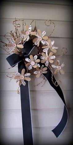 "18"" Newsprint and Burlap Button Flower Wreath-Chalkboard Ribbon-Office Decor-NEW"