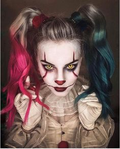 Image discovered by Maria Jose Find images and videos about color moda and Halloween on We Heart It - the app to get lost in what you love Halloween Makeup Clown, Clown Makeup, Halloween Makeup Looks, Up Halloween, Costume Makeup, Halloween Outfits, Halloween Costumes, Halloween Recipe, Women Halloween