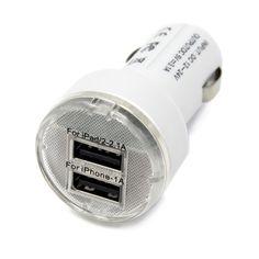 Tirol New Car Charger Cigarette Socket Dual USB Output 5V 2.1A/1A Power Adapter Splitter Black/Red/White/Blue