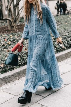 Street Style_ long line tiered maxi dress worn with stacks | Saved by Gabby Fincham | MFW Fall 2017