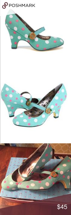 Poetic License Apple Pie teal polka dot heel So cute!! Retro style teal with pink and white polka dot shoe with 3 1/2 inch heel. Shoe is marked as 39 euro size box is marked 8. Worn twice, sole is barely scuffed. No noticeable marks. I'm a true 8 and they fit me. Adorable sparkly Apple on strap. Poetic License Shoes Heels