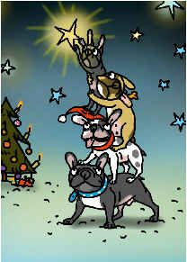 French Bulldogs trimming the Christmas Tree, digital drawing,