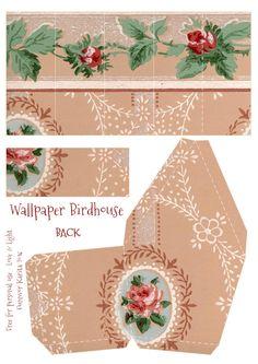 Vintage Wallpaper Birdhouse No 7