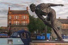 Fred Trueman statue in Skipton, Yorkshire, England. 23rd July 2015.