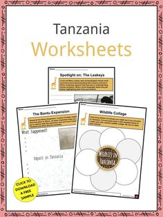 This is a fantastic bundle which includes everything you need to know about the Tanzania across 20 in-depth pages. These are ready-to-use Tanzania worksheets that are perfect for teaching students about the Tanzania which is a country in East Africa known primarily for its rich, ancient fossils and its large ethnic diversity. It borders a variety of African countries as well as the Indian Ocean and the Comoro Islands to the east. It is home to around 57 million people. Geography Worksheets, Worksheets For Kids, Mary Leakey, Ethnic Diversity, Geography For Kids, Organization Skills, African Countries, Fifth Grade, East Africa