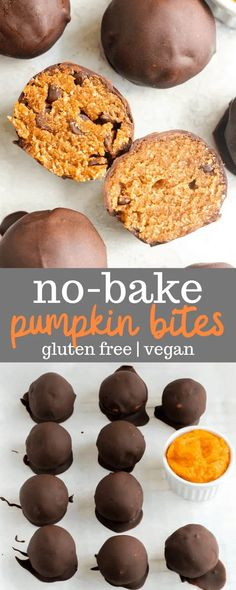 This no bake pumpkin bites recipe is easy to make and full of healthy ingredients like coconut flour, pumpkin puree, and maple syrup. This recipe is also perfect for gluten-free and vegan eaters! Use paleo chocolate to make them suitable for the paleo diet. #pumpkinrecipes #healthypumpkinrecipes #glutenfreesnacks #snackrecipes #veganrecipes #pumpkin