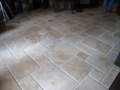 Travertine French Pattern Tiles - Traditional - Patio - new york - by TILEBUYSIMON