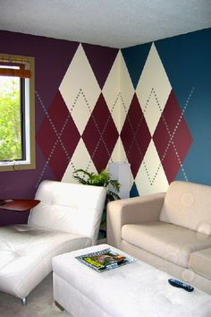 Argyle wall, Murals & Decorative Painting by Urbanomic Interior Design , via Behance