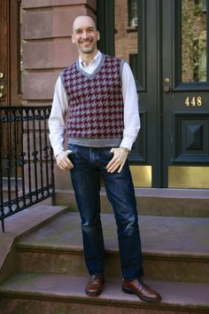 Men's houndstooth sweaters made with wool knit fabric from Mood Fabrics. #moodfabrics