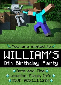 minecraft birthday invitations | Minecraft Birthday Party Custom Invitation