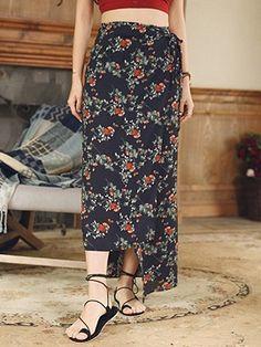 Shop Multicolor High Waist Floral Boho Wrap Maxi Skirt from choies.com .Free shipping Worldwide.$18.89