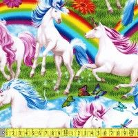 per FQ 110cm wide Timeless Treasures Unicorns and Rainbows Cotton Fabric