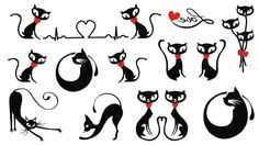 impermeabile cartoon comics giappone harajuku tatuaggio temporaneo adesivi body 9.5 * 17 gatto nero fiocco rosso di disegno del cuore mini ordine $5(China (Mainland))
