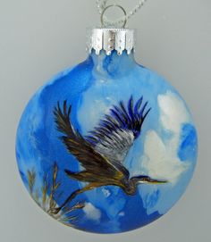Hand Painted Glass Christmas Ornament  Great Blue by HarmanArt