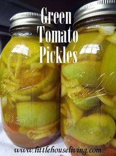 How to can Spicy Green Tomato Pickles. Yum! Great to use use green tomatoes that you have to pick before a freeze.
