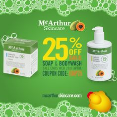 McArthur Skincare Soap & Bodywash On Sale  Save 25% OFF in our online store using the coupon code: SOAP25 at the final stage of checkout.  Containing a generous concentration of 20% McArthur Pawpaw Extract™, McArthur Skincare's Complete Skincare Soap uses the power of Pawpaw (Papaya, Papaw) to gently cleanse, rejuvenate and exfoliate the skin to leave your skin feeling soft, moisturised and smooth.  The McArthur Skincare Complete Skincare Bodywash is a rich, moisturising pawpaw body wash…