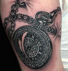 Blackwork Compass Tattoo by Ryan Ashley Malarkey