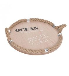 WOODEN TRAY 'OCEAN' W_ROPE 35X35X8