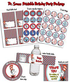 INSTANT DL Dr Suess Printable Birthday party Package by RavenJony