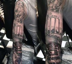 Greek tattoo ink zeus tattoo, statue tattoo и tattoo designs Gods Tattoo, Greek God Tattoo, Tattoo Ink, Realistic Tattoo Sleeve, Full Sleeve Tattoo Design, Armband Tattoos, Full Sleeve Tattoos, Trendy Tattoos, Tattoos For Guys