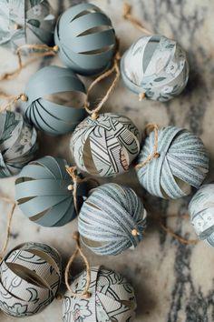 Schönen Weihnchtsbaum Schmuck aus Papier selber basteln #tannenbaumkugeln #weihnachten #holidays #christmas #tree #paper #selfmade