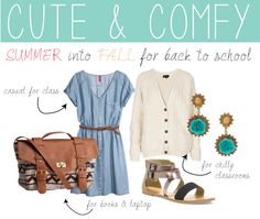Summer into Fall for Back to School Outfit featuring Just Fab and H&M