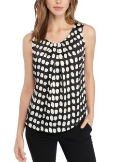 Nine West Women's Printed Pleat Neck Blouse - Black/Lily - Xs