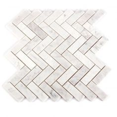 Mosaic Decorator Carrara Marble White Herringbone Polished Wall Tile