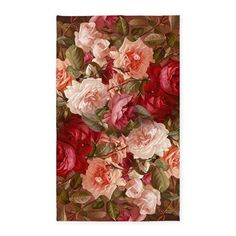 Floral Pink Roses 3'x5' Area Rug