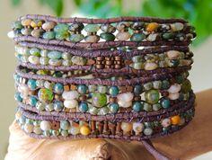 OCEAN JASPER Gemstone Beaded Leather Wrap Bracelet/BELT Rustic 4 Wrap Boho Leather Bracelet Czech & Japanese Beads Bracelets of Blue Ridge