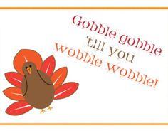 "Printable Thanksgiving Greeting Card - 4x6"" or 5x7"" - Happy Thankgiving Card - Turkey, Turkey Day, Gobble Gobble, Fun Card, Children Holiday"