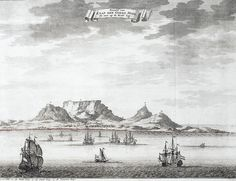View of Cape of Good Hope, with Table Mountain from the 'Oud en Nieuw Oost-Indiën' by François Valentijn Vintage Maps, Antique Maps, Paris Map, Cape Town South Africa, Table Mountain, Old Maps, City Maps, Okinawa Japan, African History