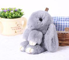 New Bất Rabbit Fur Móc Chìa Khóa Bunny Rex Rabbit Fur túi Handbag Keychain Pom Doll Bóng Móc Chìa Khóa Nhẫn Mặt Dây Chuyền Freeshipping