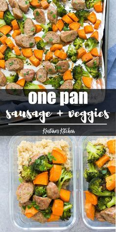 Sheet Pan Sausage and Roasted Veggies plus a meal prep option. A quick dinner recipe thats made on one pan! Use broccoli and sweet potatoes or any favorite vegetables. Sheet pan dinners are perfect for meal prep so add to your food prep schedule today. Quick Dinner Recipes, Lunch Recipes, Beef Recipes, Healthy Recipes, Paleo Food, Eating Paleo, Recipies, Easy Meal Prep, Healthy Meal Prep