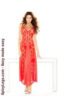 a43d0db5a0d Fantasy Favorite Plus Size Red Lace Panel Gown and G-String Risque  Lingerie