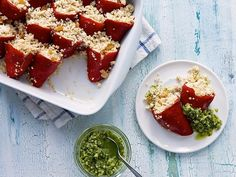 These Quinoa-Stuffed Piquillo Peppers are the perfect party bite.  Serve them with a zucchini salsa on the side for a #Chopped-tastic celebration. Brought to you by @Buick.
