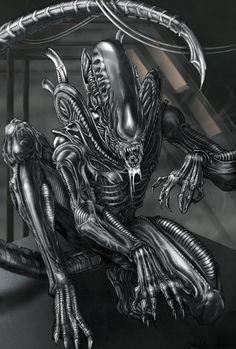 Xenomorph Alien - line art: ChrisOzFulton.deviantart.com, color: SarahPerryman.deviantart.com