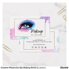 Creative Watercolor Eye Makeup Artist Business Card