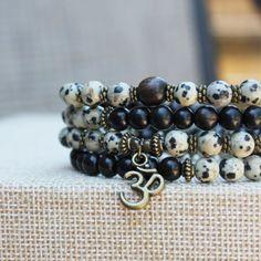 108 mala, Dalmatian Jasper necklace, ebony bracelet, om wrist mala, yoga jewelry, healing stone