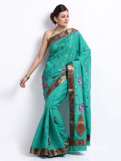 Vritika Turquoise Blue Embroidered Art Silk Fashion Saree