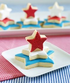 An idea for your Fourth of July holiday parties, Red, White & Blue Star Cookie Towers