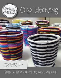 Art Lesson: Cup WeavingArt with Mrs. NguyenStudents will learn how to create a radial cup weaving using a paper cup and yarn! This package comes with teacher instructions, visuals, AND an instructional video!Project Materials:9oz Paper CupScissorsYarn (whichever colors youd like)Cup Template (included)Sharpie MarkerIf you are likely to come back for more art education products, consider investing in my 'Art with Ms.