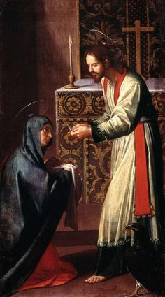 John the Evangelist gives communion to the Virgin Mary by Alfonso Cano at the Museo Nacional de San Carlos, Mexico.