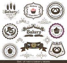 Vintage Bakery   Set of vintage retro bakery labels   Vector stock © Anna Stsonn ...