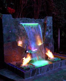 waterfall with colored lights and fire   Ray needs to build this